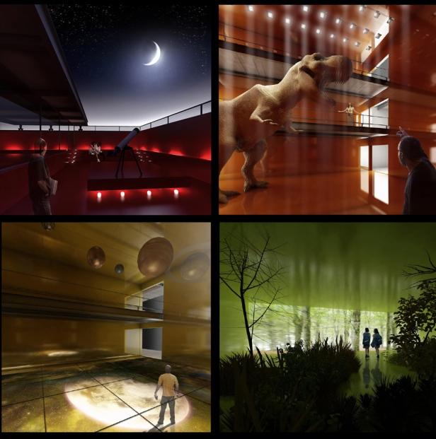 """Vistas ilustrativas do interior dos """"cubos"""", parte das áreas de exposição com controle de iluminação, ventilação e acesso."""