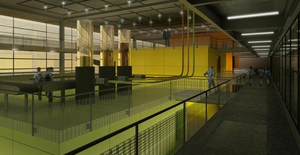 Vista da Área de Exposições, a partir da passarela do nível intermediário (N654)