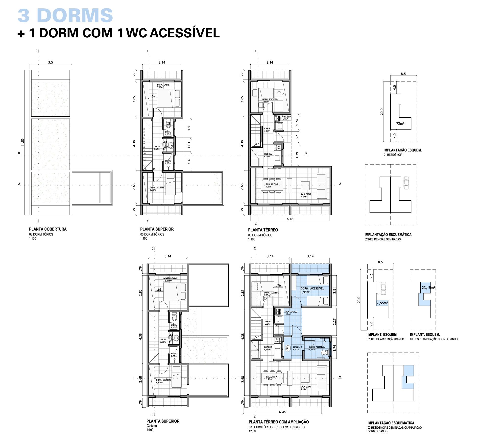 Plantas baixas da tipologia com 3 dormitórios e 3 dormitórios com  #4D667E 1940x1793 Banheiro Acessível Planta