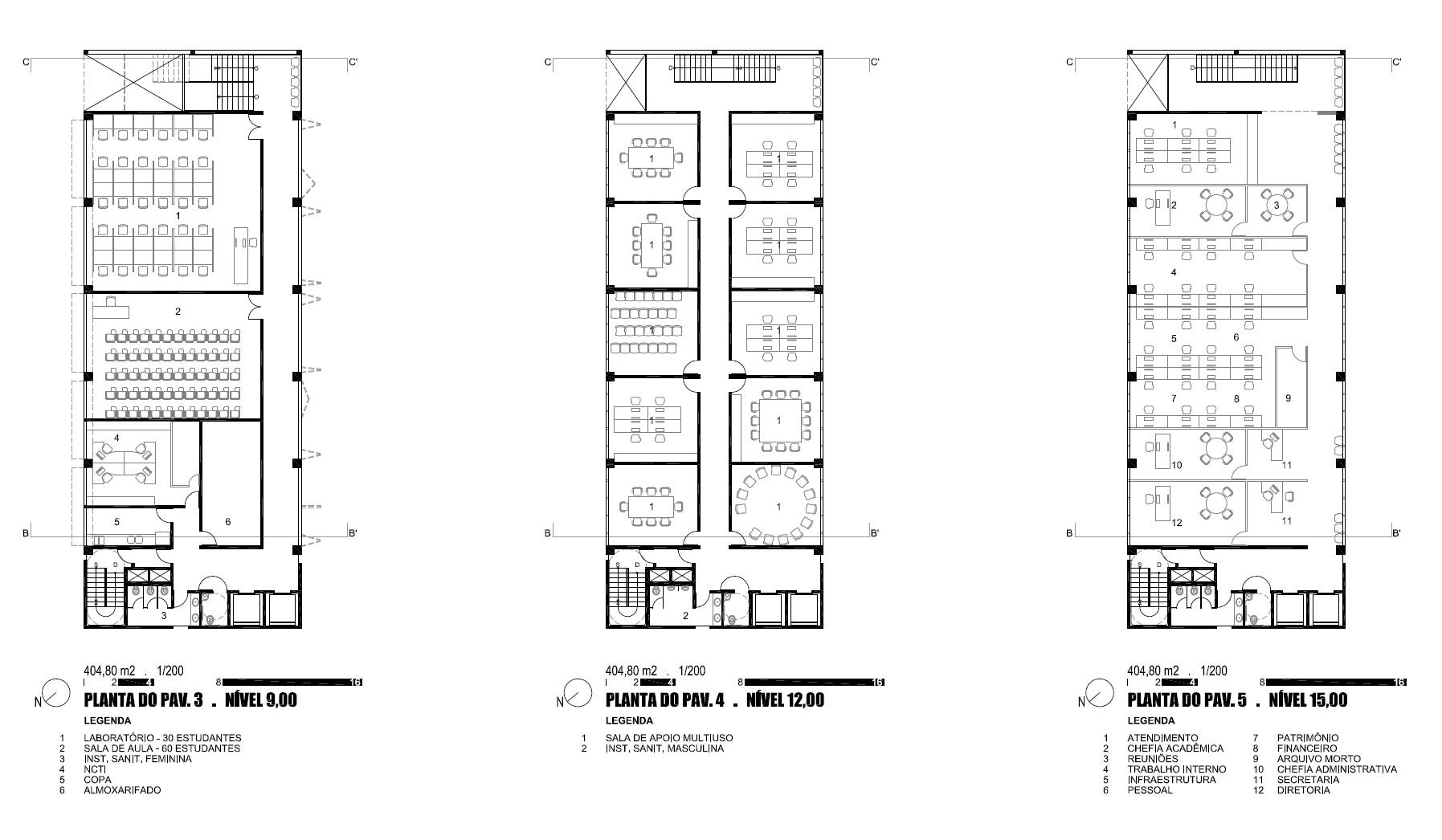 pátio inferior proposto para servir de extensão à área do foyer  #2C2C2C 1795 1046