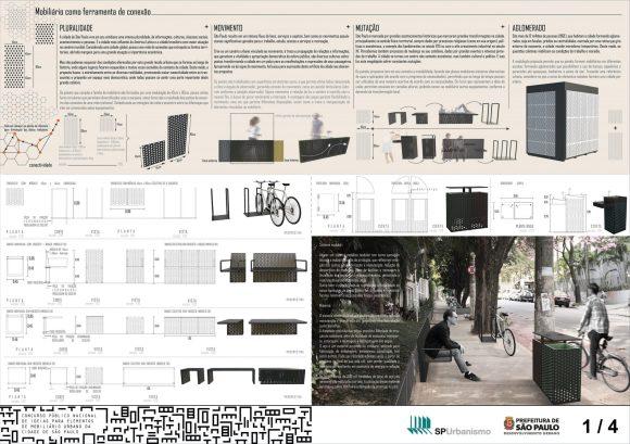 Premiados - Concurso Público Nacional de Ideias para Elementos de Mobiliário Urbano - Terceiro Lugar - Prancha 01