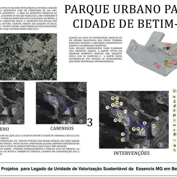 Premiados - Concurso de Estudantes - Parque Urbano em Aterro Sanitário UVS Betim - MG - Menção Honrosa - Prancha 01