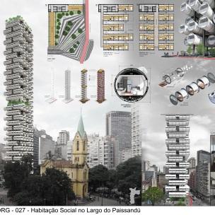 Premiados - Concurso de Ideias para Estudantes - Habitação Social no Largo do Paissandú - Primeiro Lugar - Prancha 01