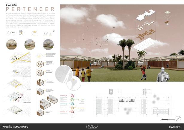 Premiados - Concurso de Ideias para o  Pavilhão Humanitário - Boa Vista - Roraima - Segundo Lugar - Prancha 01